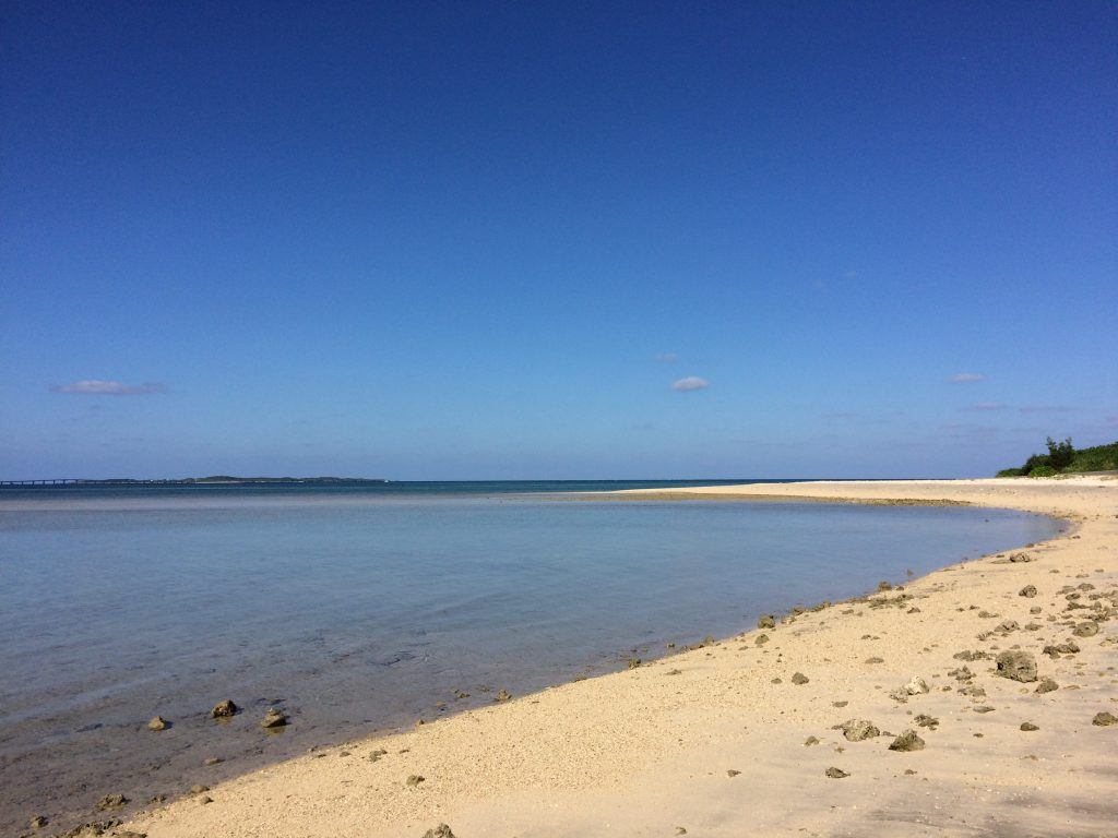 朝の大神島のビーチ