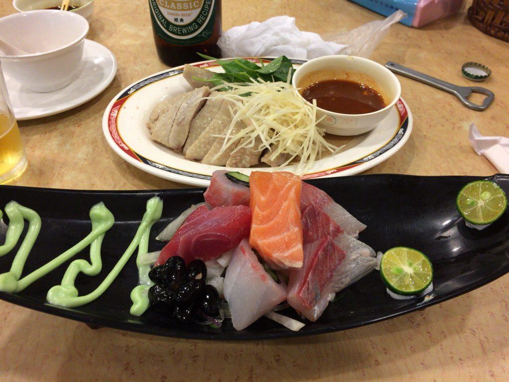 刺身。ちなみに中国語では「生魚片」と書く