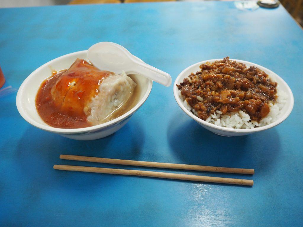 魯肉飯(ルーローファン)と阿給(アゲ)