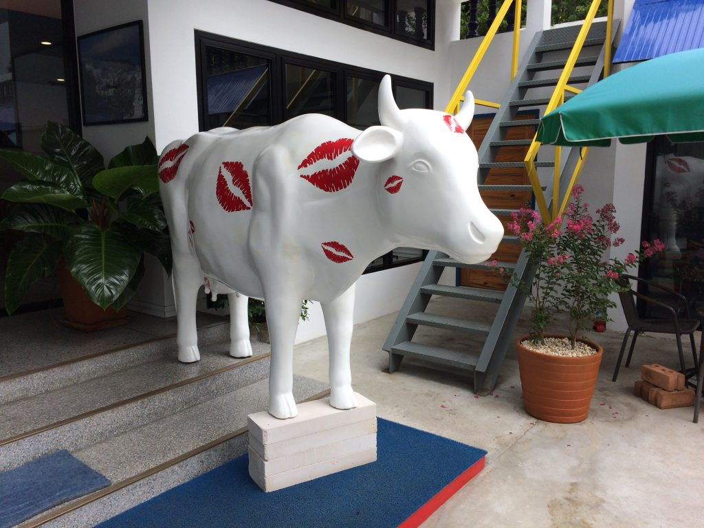 牛が出迎えてくれる