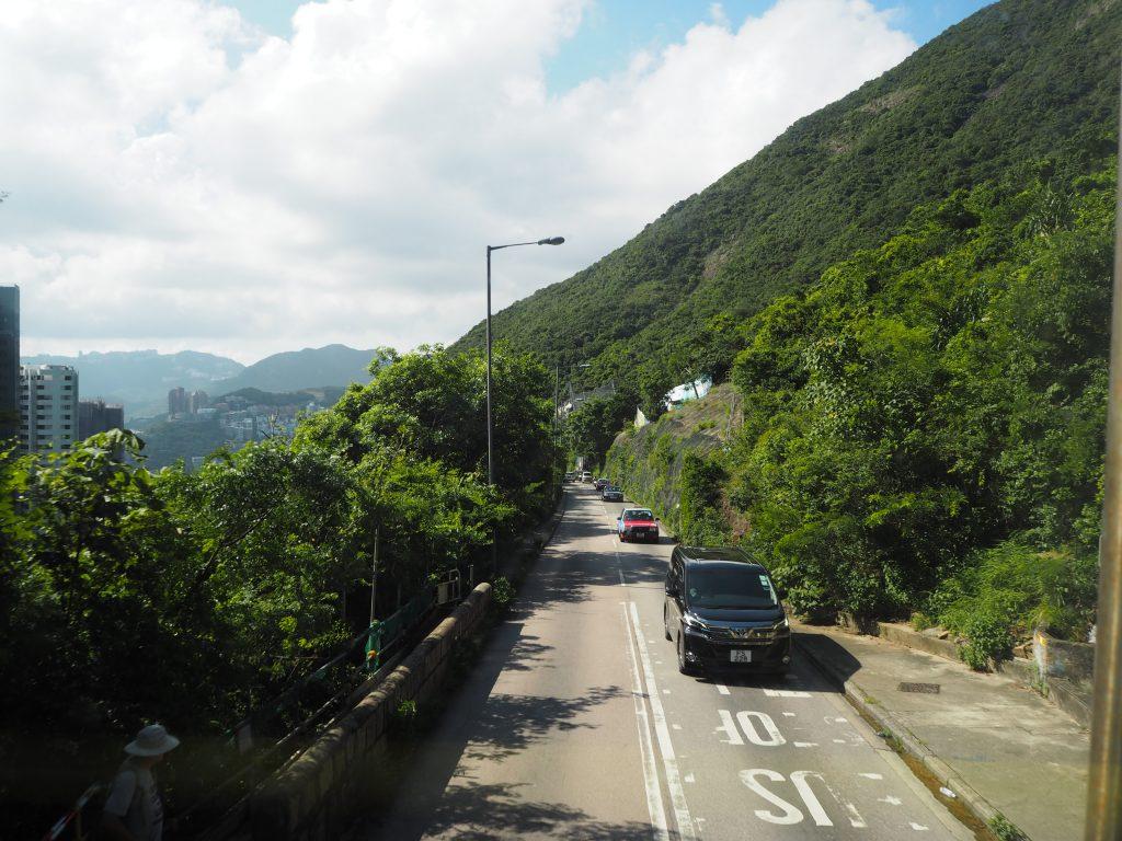 バスの2階から見る香港島の風景