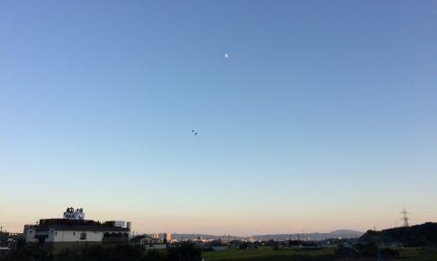 夕暮れ時の青空にかかる半月