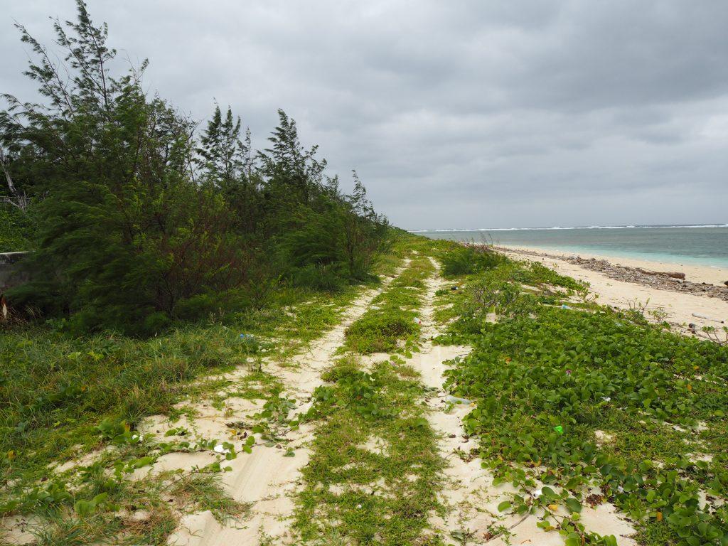 人のいない砂浜を歩いて港へ向かう