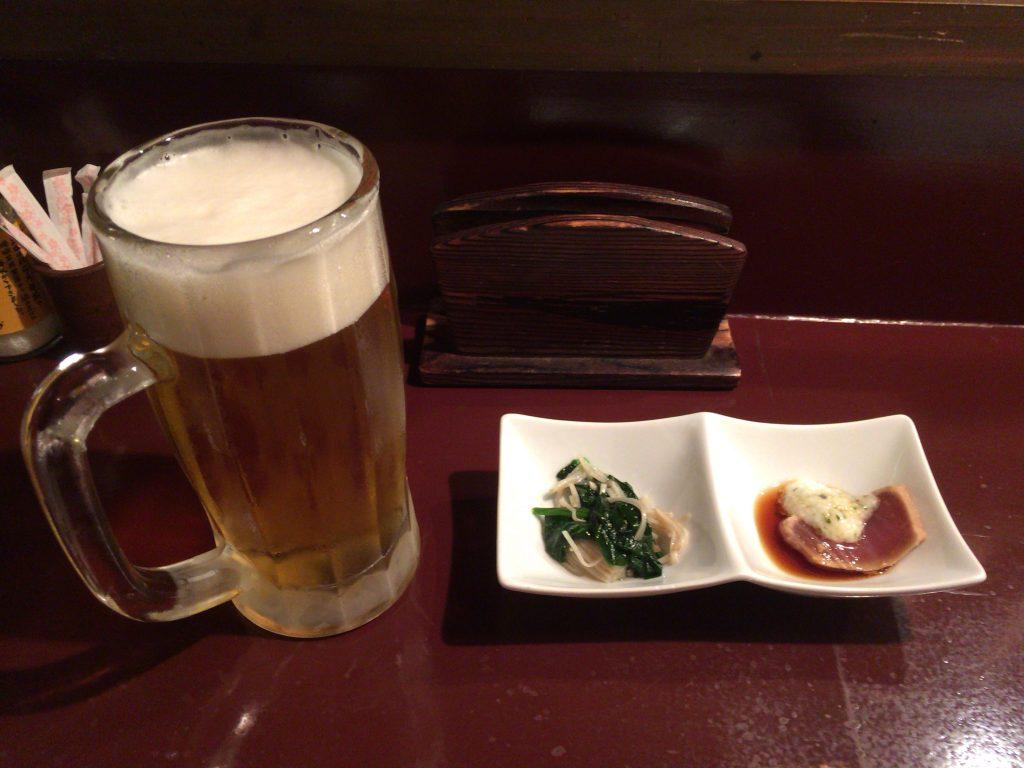 オリオン生ビールとお通し