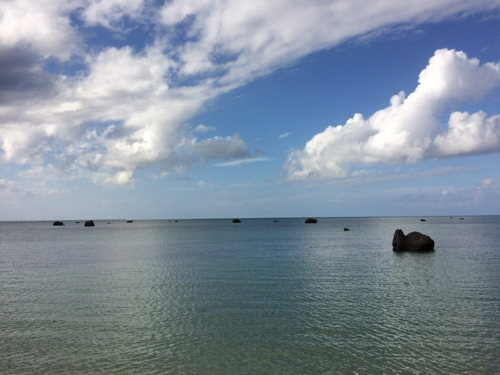 無数の岩が点在する佐和田の浜