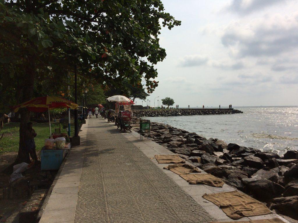 海岸沿いに遊歩道が伸びる