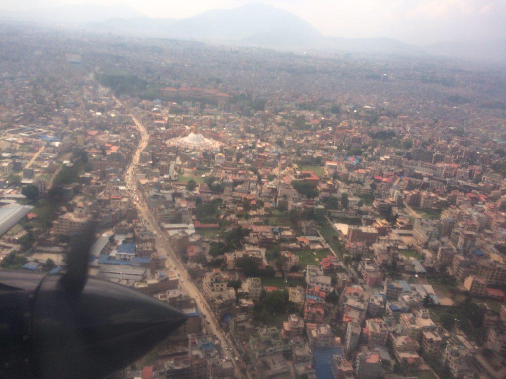 上空から見るカトマンズ市内