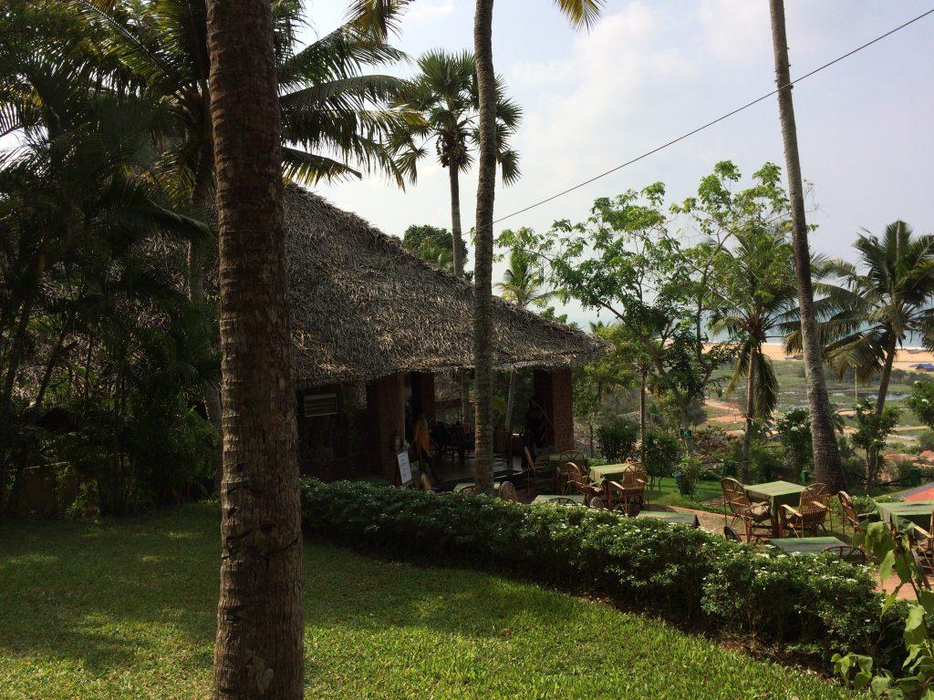 レストランの外観。味がある藁葺き屋根は日本の伝統家屋を思わせる