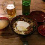 「ふる里」のカツ丼(味噌汁と漬け物付き)