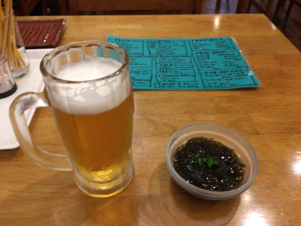 オリオンビールとモズク酢