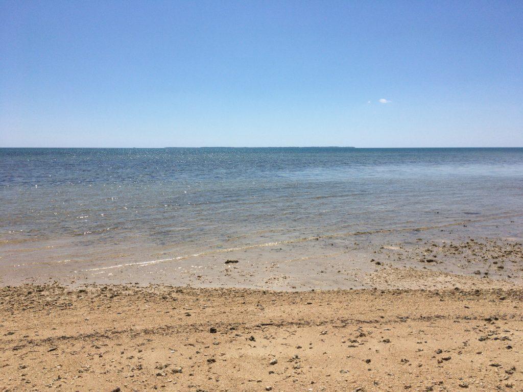 遠浅のビーチである