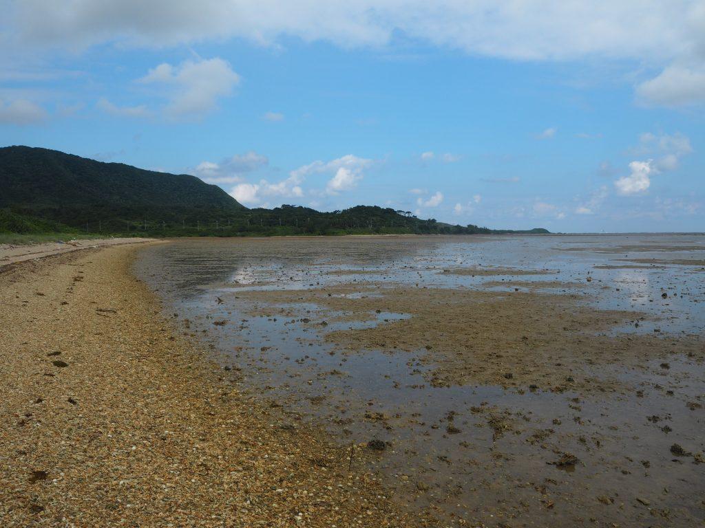 島を取り囲むように砂浜が続く