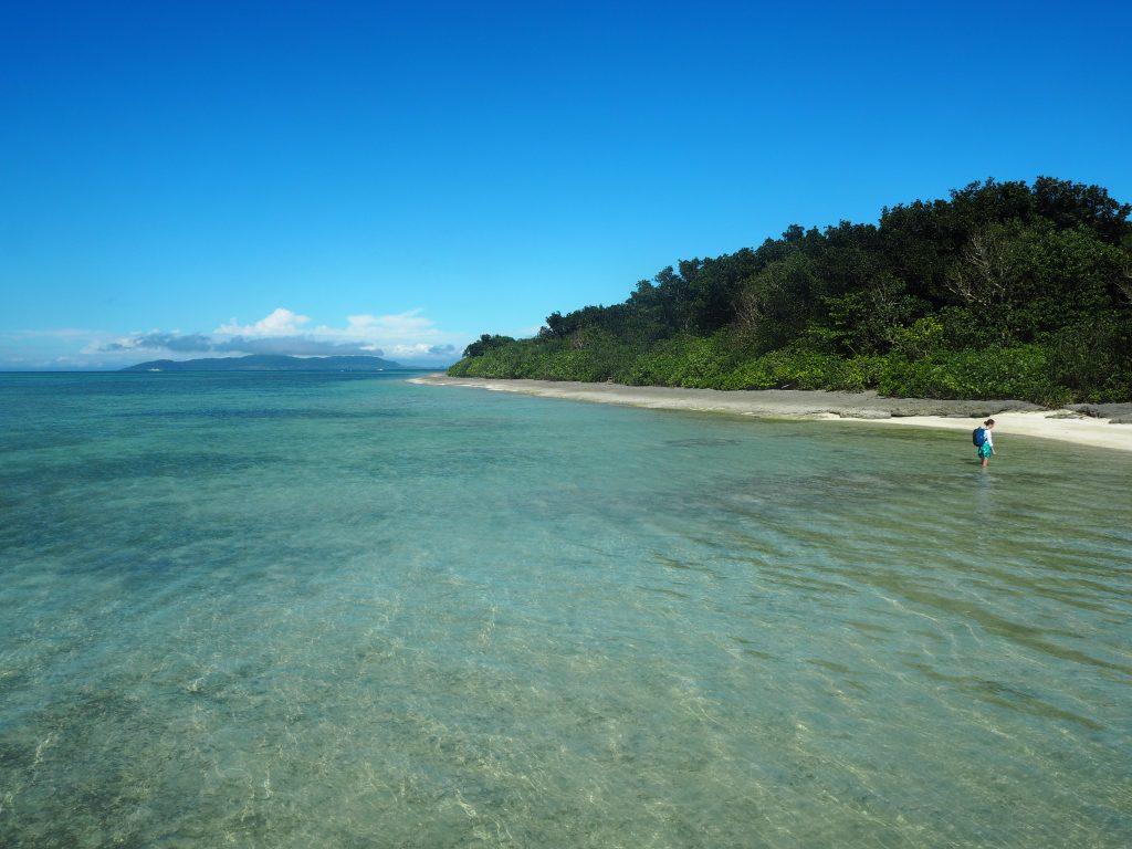サンゴ礁が隆起してできた竹富島の海の透明度は高い