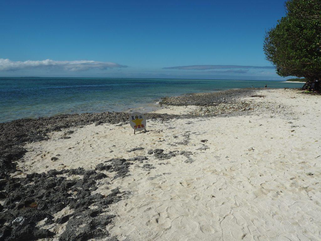 ビーチは岩場と砂浜が混じっている
