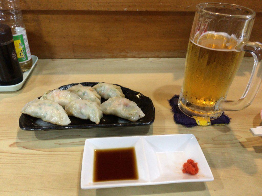 オリオンビールと車海老餃子