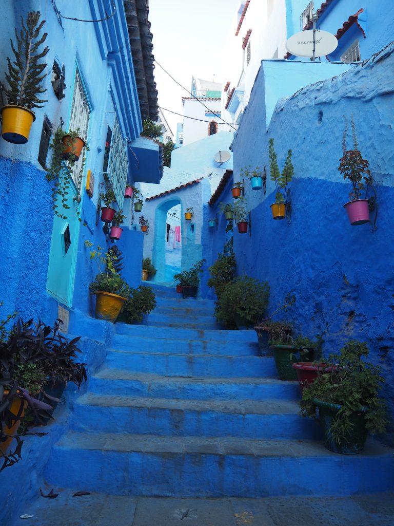アーチへと続く青い階段にカラフルな植木鉢とシャウエンらしさが凝縮されたスポット