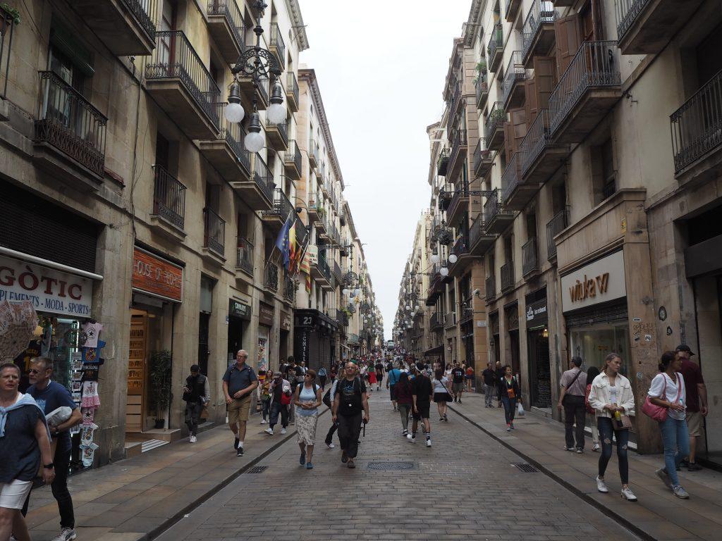 バルセロナ旧市街の街並み